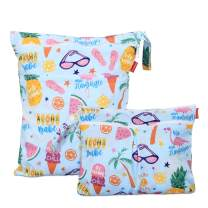 Damero 2Pcs Wet Dry Bag with 2 Zippered Pockets and Snap Handle for Cloth Diaper, Swimsuit, Clothes, Ideal for Travel, Exercise, Daycare, Roomy and Water-Resistant (Small+Large,Summer Style)