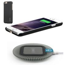 Antye Qi Wireless Charger for iPhone 6 Plus / 6S Plus, Including Wireless Charging Receiver Case and (Sleep-Friendly) Wireless Charging Pad Station, Black/Black