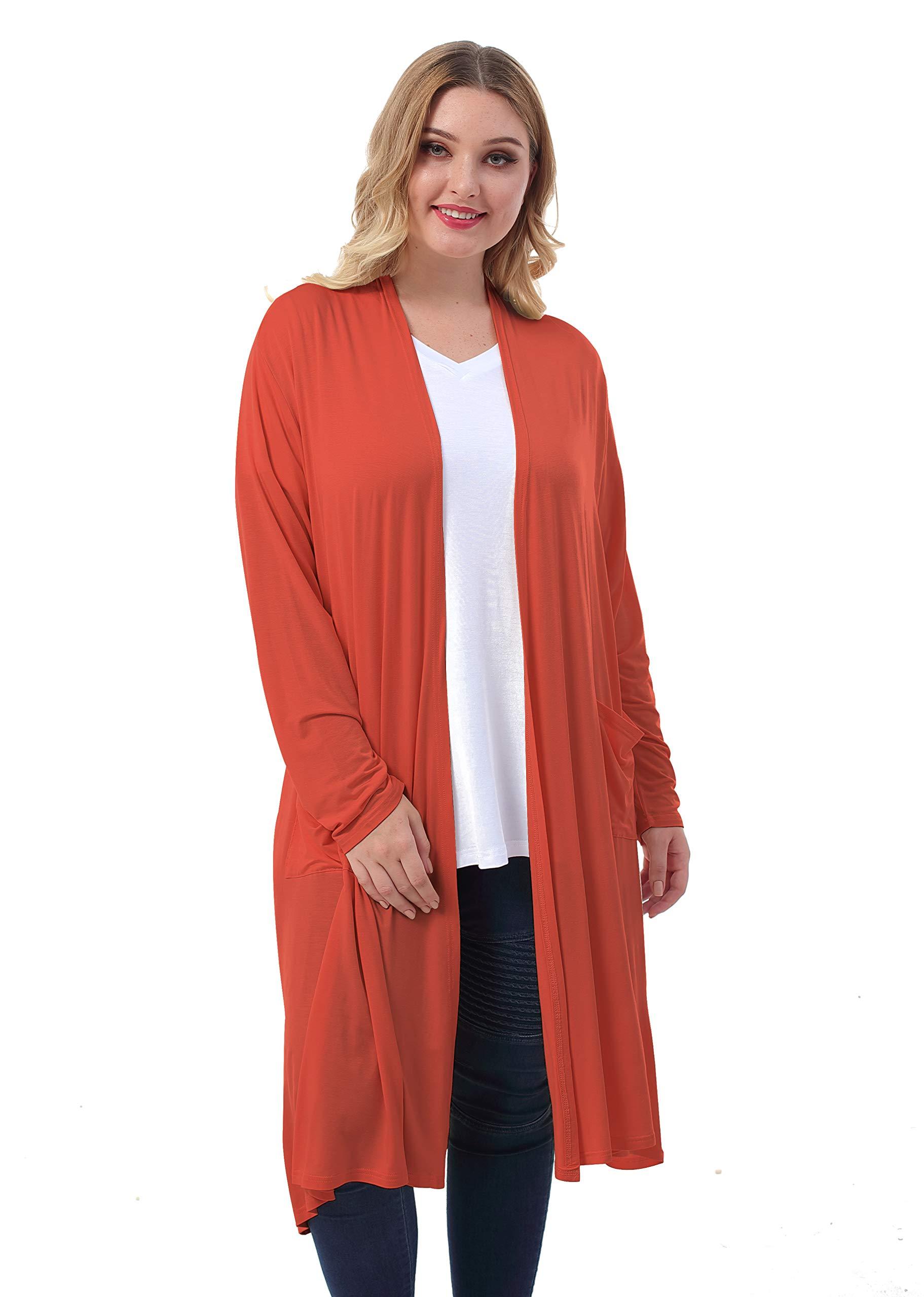 ZERDOCEAN Women's Plus Size Long Cardigan Long Sleeve Lightweight Soft Drape Open Front with Pockets.