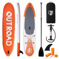 """Outroad Inflatable SUP Stand Up Paddle Board 11FT SUP 6"""" Thick with Fins Thuster, Adjustable Paddle, Hand Pump and Carry Backpack"""