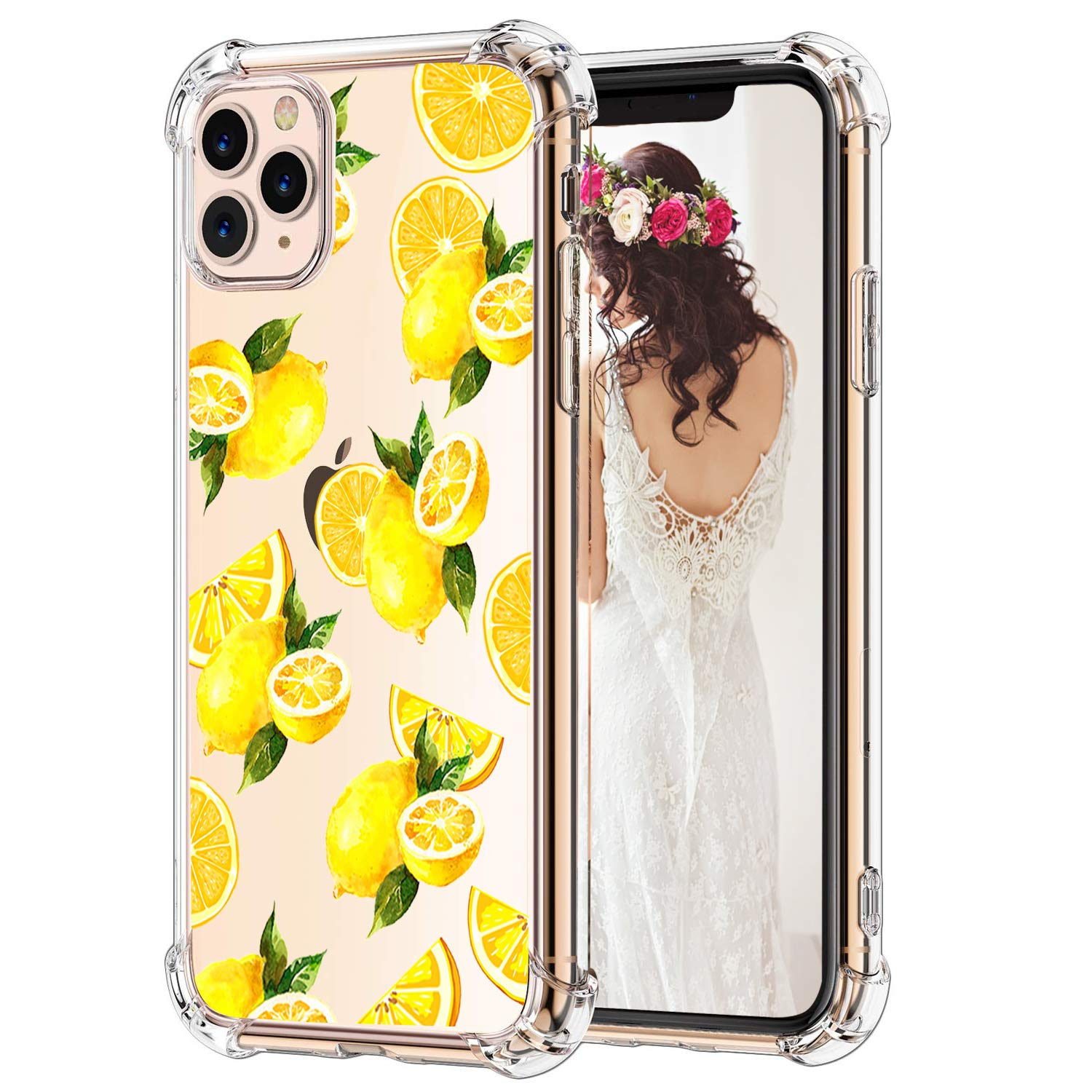Hepix Fresh Lemon iPhone 11 Pro Max Cases, Cute Yellow Lemon Clear Pro Max 11 Cases, Soft Flexiable TPU Slim Protective Phone Cover with Four Air Cushion Corners Anti-Scratch Shock Absorbing