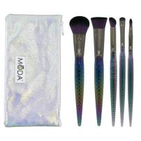 Royal & Langnickel MODA Full Size Mythical Dark Dragon 6pc Makeup Brush Set with Pouch, Includes - Powder, Contour, Angle Shader, Smudger, and Precision Lip Brushes, Green Ombre