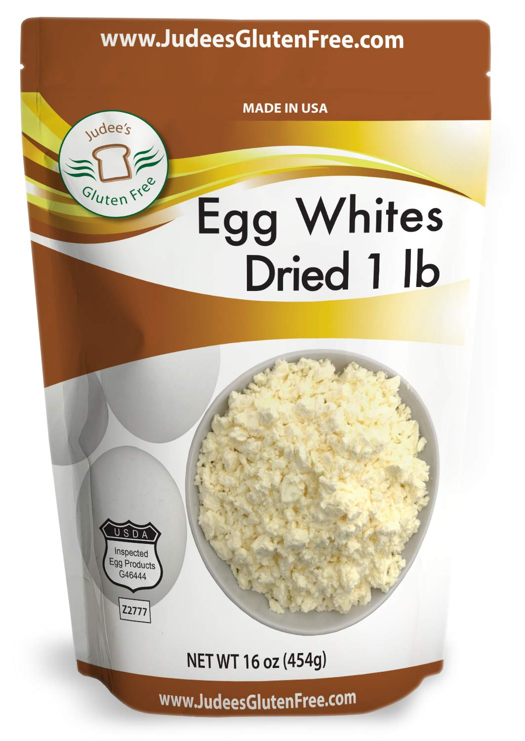 Judee's Dried Egg White Protein 1 lb (16 oz) - Baking, Meringue, Royal Icing, Smoothies. 4g Protein per Serving, Non GMO, USA Made, USDA Certified, Made from Fresh Eggs (45 lb Bulk Size Available)
