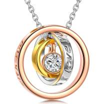 QIANSE Mother's Day Necklaces Gifts Sun of Life Three Rings Design Pendant with Engraving Necklace, Swarovski Crystals Jewelry