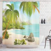 """Ambesonne Tropical Shower Curtain, Exotic Beach with Coconut Palm Trees and Rocks Journey Oceanic Coastal Design, Cloth Fabric Bathroom Decor Set with Hooks, 75"""" Long, Green Aqua"""