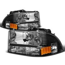 Replacement for 97-04 Dodge Dakota/Durango Pair of Black Housing Amber Corner Bumper Headlight
