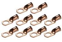 """TEMCo 10 Pack Bare Copper Welding Battery Cable Ends, Lugs Terminal 2 AWG 1/2"""" Hole (6 AWG to 1/0 AWG Options Available)"""