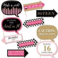 Big Dot of Happiness Funny Chic Sweet Sixteen Birthday - Pink, Black and Gold - 16th Birthday Party Photo Booth Props Kit - 10 Piece