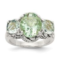 925 Sterling Silver Green Quartz Band Ring Stone Gemstone Fine Jewelry For Women Gift Set