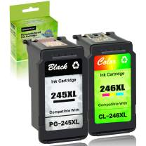 GREENCYCLE Re-Manufactured PG-245XL 245 XL CL-246XL CL-246 Ink Cartridge Compatible for Canon Pixma MX490 IP2820 MG2420 MG2520 MG2522 MG2924 MG3020 MG3022 TS302 (Black, 1 Pack; Tri-Color, 1 Pack)