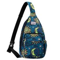 HAWEE Chest Bags for Women Medium Size Sling Backpack Waterproof Fabric, Sun and Moon