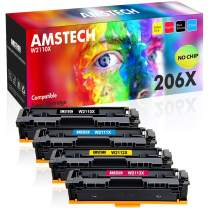 Amstech Compatible Toner Cartridge Replacement for HP 206X 206A W2110X W2111X W2112X W2113X for HP Color Laserjet Pro M255dw MFP M283fdw M283cdw M282nw No Chip (Black Cyan Yellow Magenta, 4-Pack)