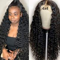 Deep Curly Wave 4x4 Lace Closure Wig Human Hair, MSGEM 16 inch Brazilian Lace Front Wigs for Black Women Human Hair Wig Pre Plucked with Baby Hair