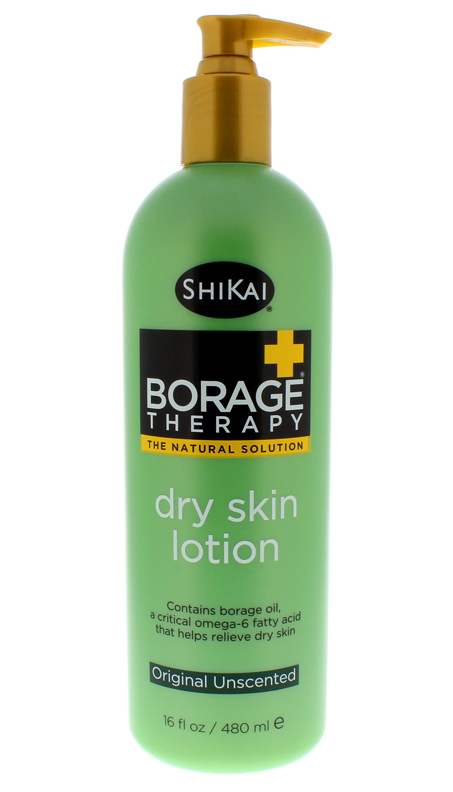 ShiKai - Borage Therapy Dry Skin Lotion, Plant-Based Soothing & Moisturizing Relief For Dry, Irritated & Itchy Skin, Non-Greasy, Sensitive Skin Friendly (Original Unscented, 16 Ounces)