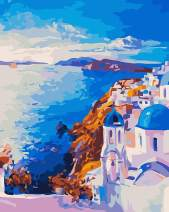 """Paint by Numbers for Adults by BANLANA, DIY Adult Paint by Number Kits for Beginners on Canvas Rolled 16"""" by 20"""" (Santorini)"""