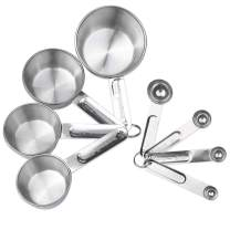 Measuring Cups and Spoons Set of 8 Pieces Stainless Steel Measuring Spoons and Cups Stackable Metal Measuring Spoons and Cups for Gift Dry Liquid Ingredients Cooking Baking