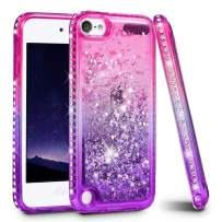 iPod Touch 5 6 7 Case, iPod Touch Case 5th 6th 7th Generation for Girls, Ruky Quicksand Series Glitter Flowing Liquid Floating Bling Diamond Flexible TPU Cute Case for iPod Touch 5 6 7 (Pink Purple)