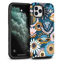 CAFEWICH Case for iPhone 11 pro, Shockproof Hybrid PC+TPE Silicone Rubber Bumper Full-Body Scratch Drop Protection Stylish Phone Cover for iPhone 11 pro 5.8 inch 2019 - (Folk Flower)