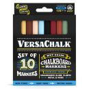 Classic Liquid Chalk Markers for Blackboards by VersaChalk (10 Chalkboard Markers, 3mm Fine Tip) - Washable Erasable Chalk Pens for Windows, Glass, Bistro Menu Signs, Chalk labels, Stickers