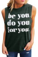 Liyuandian Womens Good Vibes Letter Printed Tank Tops Mom Shirts with Sayings