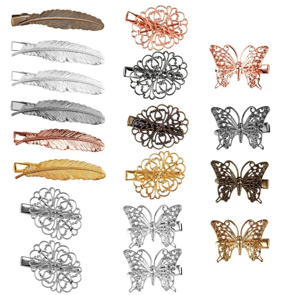 Jaciya 18 Pack Vintage Hair Clip Hairpins Hair Barrettes Butterfly Leaf Flower Shape Hair Clips Headwear (Leaf Flower 18 Pack)