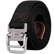 Drizzte Plus Size 39 to 75'' Long Double D Ring Mens Canvas Cloth Web Belt