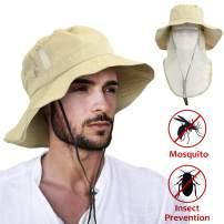 Outdoor Fishing Hat with Neck Flap Wide Brim Adjustable Safari Cap