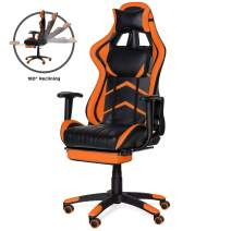 Best Choice Products Ergonomic Swivel Reclining Office Racing Gaming Chair w/Footrest, Lumbar Support - Orange
