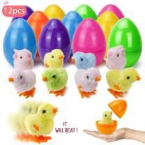 "Townshine Easter Eggs Toys, 12 pack 4"" Pre-filled Plastic Easter Eggs with Wind-Up Toys for Easter Eggs Hunt, Easter Basket Stuffers"