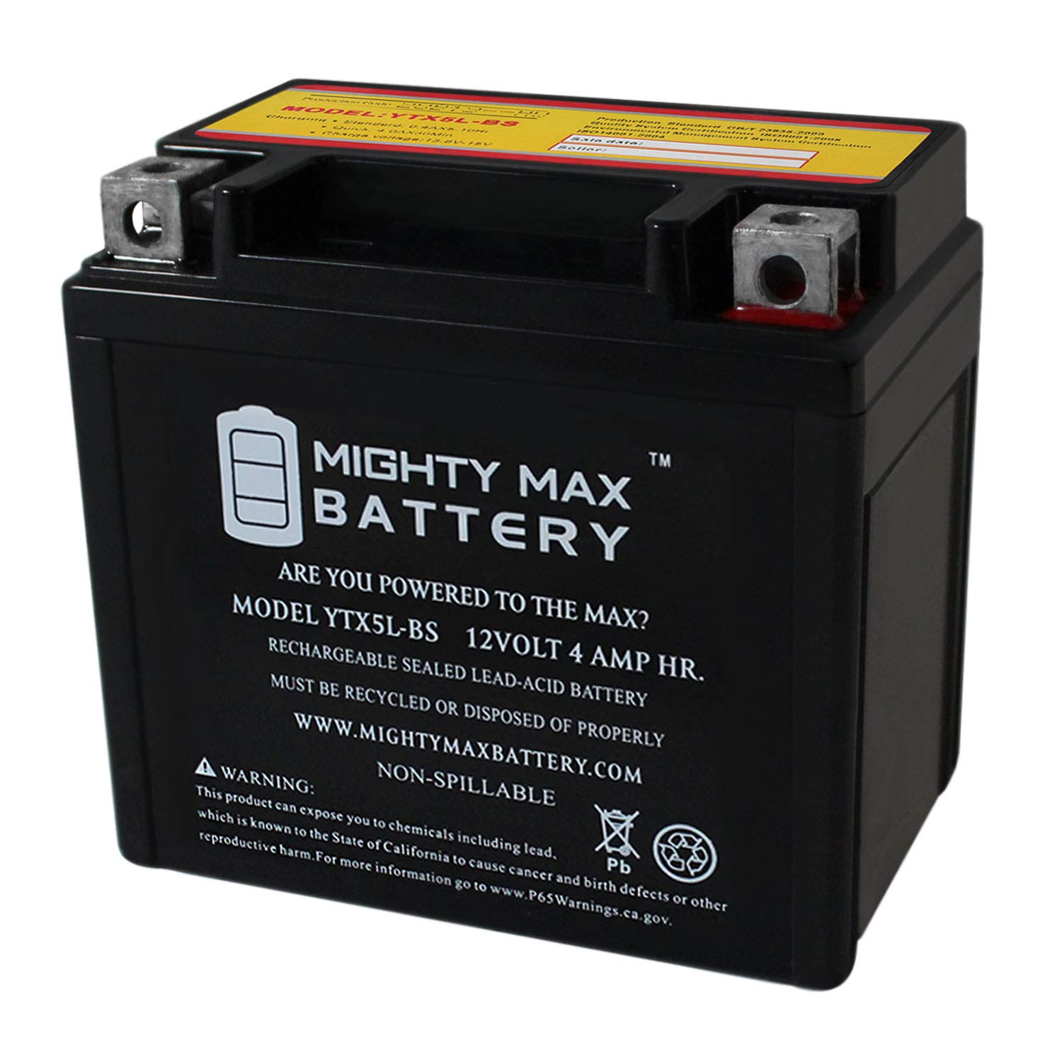 YTX5L-BS - 12V 4AH 80 CCA - SLA Power Sport Battery - Mighty Max Battery Brand Product
