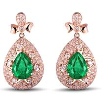 Lanmi 14K/18k White Yellow Rose Gold Natural Emerald Diamond Drop Dangle Earrings Wedding for Women