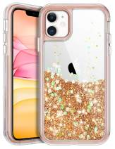 Coolden Bling Case for iPhone 11 Clear Glitter 3 in 1 Waterfall Liquid Luxury Fashion Cute Sparkle Moving Quicksand Pretty Love Heart Protective Cover Case for iPhone 11 6.1inch, Rose Gold