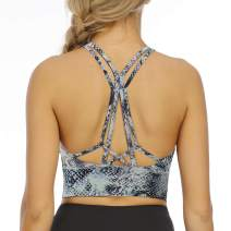 Aonour Women Strappy Sports Bra Light Support Longline Sports Bra Padded Workout Yoga Bra Tops for Women Blue Snake S