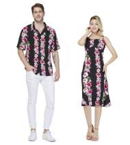 Couple Matching Hawaiian Luau Shirt Mermaid Dress Pink Black Hibiscus Vine