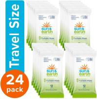 Flushable Wipes, Biodegradable, Unscented by Sun & Earth, Resealable for Travel, 12Count, Pack of 24, White