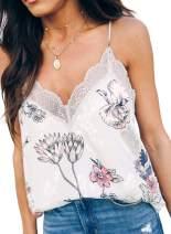 GOSOPIN Women V Neck Lace Cami Tank Tops Straps Trim Shirts Blouse