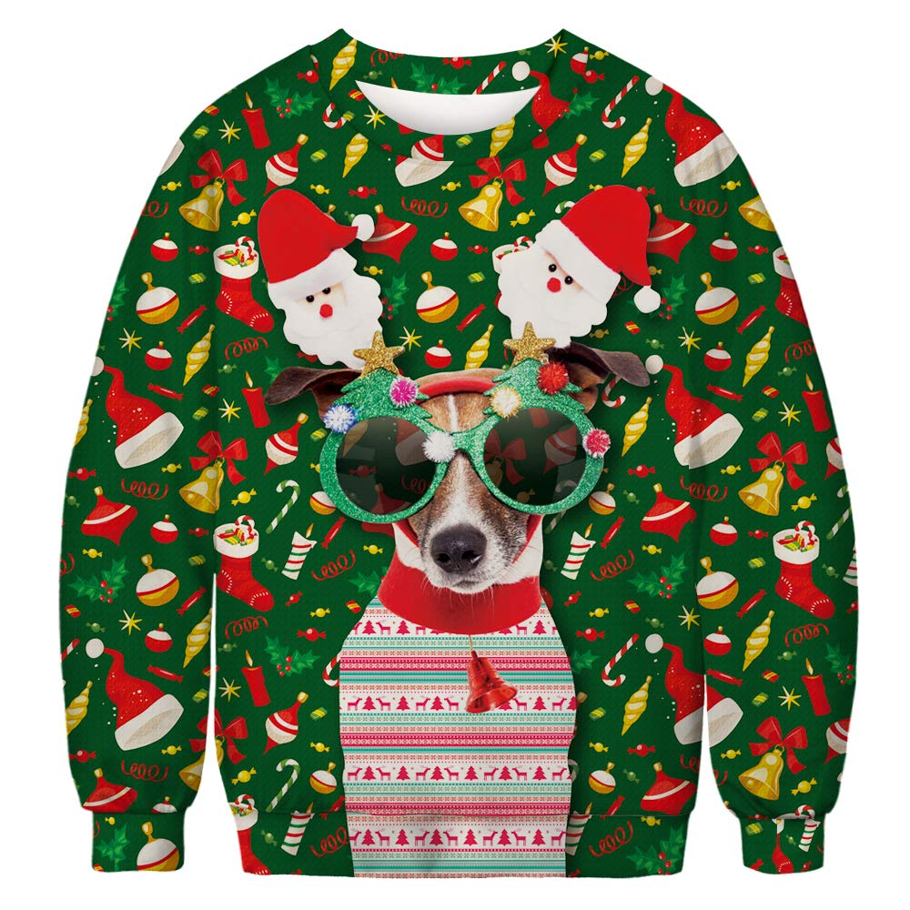 Unisex Ugly Christmas Sweatshirt Men Women Novelty 3D Printing Xmas Santa Reindeer Hoodie & Crew Neck Sweatshirt
