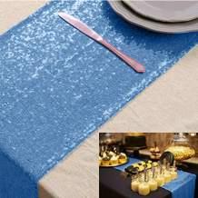 """Table Runner Coffee Table Runner Baby Blue 5 PCS 12""""x72"""" Sequin Table Runner Christmas Table Linen Baby Blue Shimmer Table Cover Decorative Table Runner"""