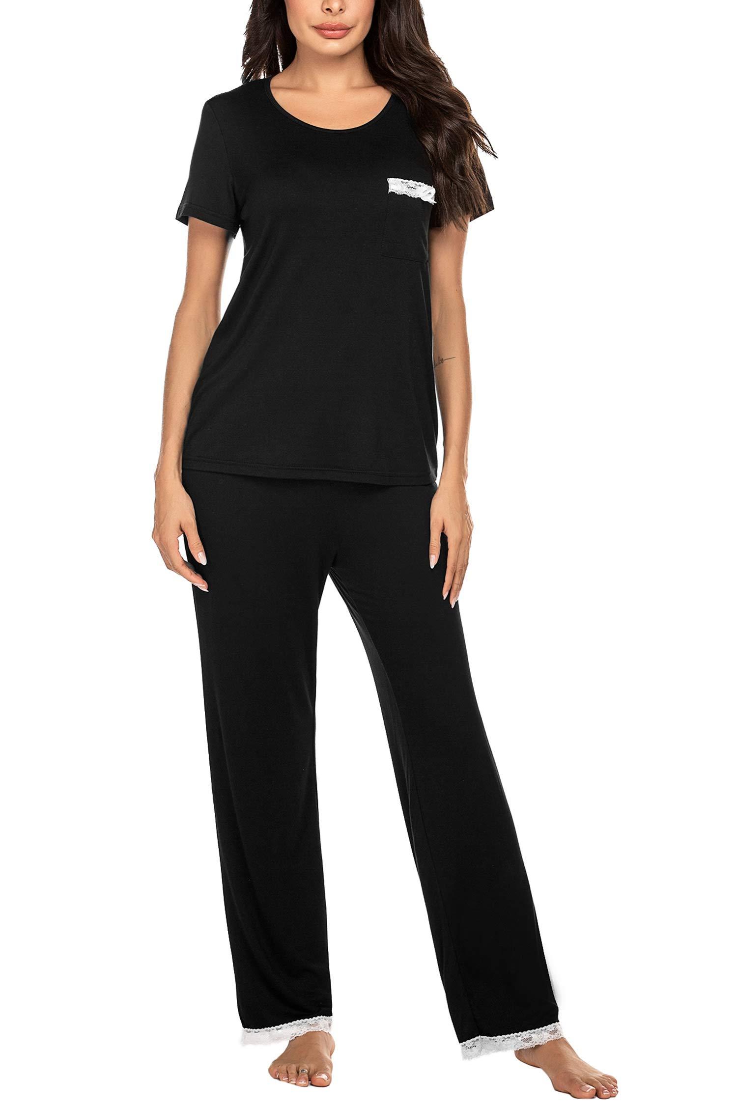 Ekouaer Womens Pajama Set Lace Back Short Sleeve Top & Pants Sleepwear Pjs Sets S-XXL