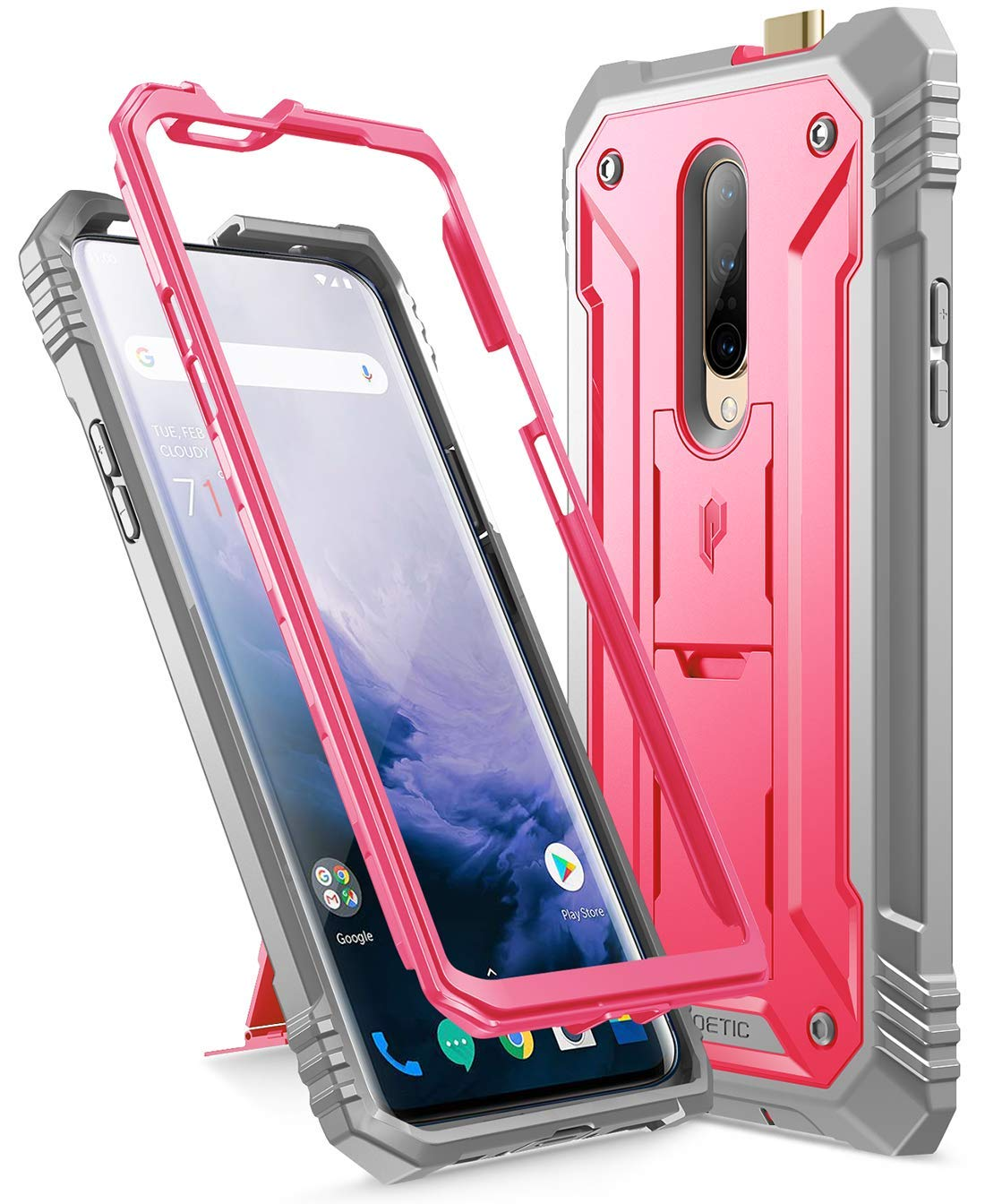 Poetic OnePlus 7 Pro Rugged Case with Kickstand, Full-Body Dual-Layer Shockproof Protective Cover, Built-in-Screen Protector, Revolution Series, for OnePlus 7 Pro (2019 Release), Pink
