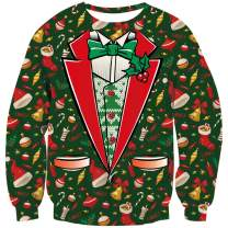 TUONROAD 3D Graphic Ugly Christmas Sweater Funny Crew Neck Pullover Sweatshirt for Men Women