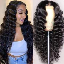 Yeslestm Hair 20 Inch 4x4 Loose Deep Wave Lace Closure Wigs For Black Women 100% Human Hair Glueless Wigs With Baby Hair and Pre Plucked Hairline in Natural Color.150% Density.