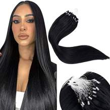 LaaVoo Microlink Human Hair Extensions Black Micro Loop Hair Extensions 16 Inch #1 Jet Black Silky Straight Real Human Hair Micro Beads Remy Hair Extensions 50g/50s
