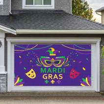 Dazonge Large Fabric Mardi Gras Banner for Party Decorations | 78''x45'' | Mardi Gras Party Accessory | Carnival Party Favors | Mardi Gras Photo Props Backdrop