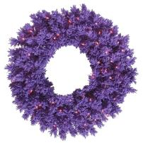 Vickerman Pre-Lit Wreath with 70 Purple Mini Lights, 30-Inch, Flocked Purple