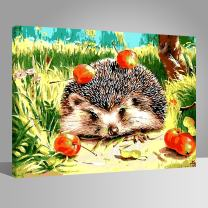 LIUDAO Paint by Number Kit - Hedgehog Apple - Oil Painting on Canvas 16x20 Inches Wooden Frame