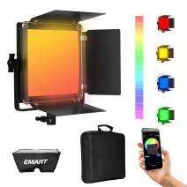 Emart RGB Panel Light with APP Control, 2800-8000K LED Video Lightng,10 Applicable Scenes with LCD Screen, 0-360° Adjustable Color LED Photography Lights for Portrait Shooting/Video Recording