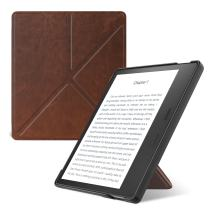 MoKo Case Fits All-New Kindle Oasis (9th and 10th Generation, 2017 and 2019 Release) ONLY, Hands-Free Slim Shell Origami Stand Protective Cover with Auto Wake/Sleep - Brown
