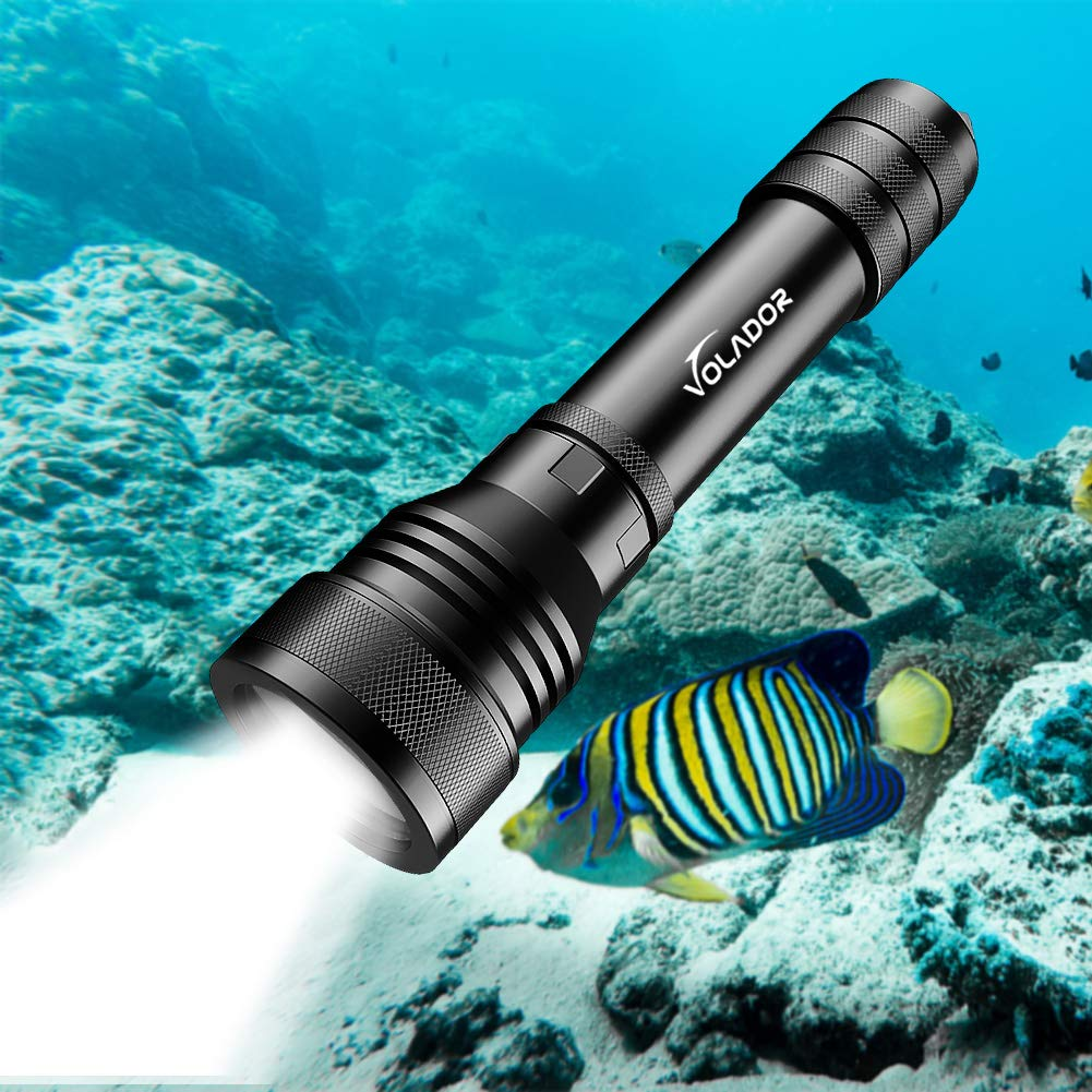 VOLADOR Scuba Diving Flashlight, 2000 Lumens Underwater Flashlight Rechargeable Night Dive Torch Light with Battery and Charger
