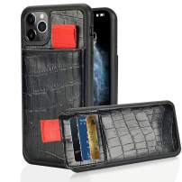 """LAMEEKU iPhone 11 Pro Max case Wallet, iPhone 11 Pro Max Leather Wallet Credit Card Holder Pocket, Crocodile Skin Pattern Shockproof Protective Cover for iPhone 11 Pro Max 6.5""""(2019)-Black"""